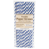 Creative Converting 324492 7 3/4 inch Jumbo Cobalt Paper Straws   - 144/Case