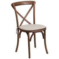 Flash Furniture XU-X-PEC-NTC-GG Hercules Pecan Wood Stackable Cross Back Chair with Cushion