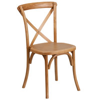 Flash Furniture XU-X-OAK-GG Hercules Oak Wood Stackable Cross Back Chair