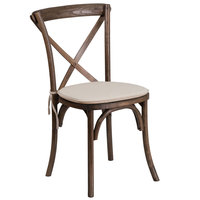 Flash Furniture XU-X-EA-NTC-GG Hercules Early American Wood Stackable Cross Back Chair with Cushion