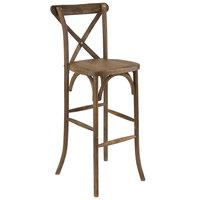 Flash Furniture XA-X-BAR-GO-GG Hercules Dark Antique Wood Stackable Cross Back Barstool