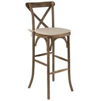 Flash Furniture XA-X-BAR-GO-BC-GG Hercules Dark Antique Wood Stackable Cross Back Barstool with Cushion