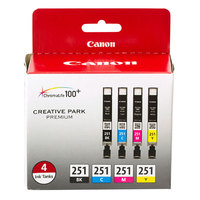 Canon 6513B004 Black / Cyan / Magenta / Yellow Inkjet Printer Ink Cartridges - 4/Pack