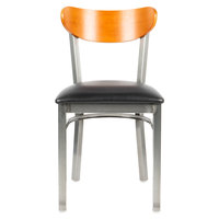 Lancaster Table & Seating Boomerang Clear Coat Chair with Black Vinyl Seat and Cherry Back