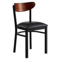 Lancaster Table & Seating Boomerang Black Chair with Black Vinyl Seat and Antique Walnut Back