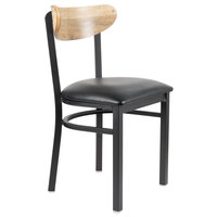 Lancaster Table & Seating Boomerang Black Chair with Black Vinyl Seat and Driftwood Back