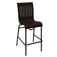 Grosfillex US929002 Viva Charcoal Gray Stacking Resin Side Barstool