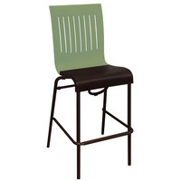 Grosfillex US929721 Viva Sage Green / Charcoal Gray Stacking Resin Side Barstool