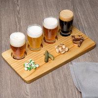 Acopa Tasting Flight Set - 4 Barbary Sampler Glasses with Natural Wood Taster Board