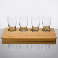 Core by Acopa Tasting Flight Set - 4 Barbary Sampler Glasses with Natural Wood Taster Board