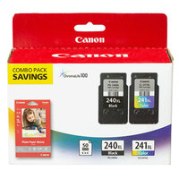 Canon 5206B005 High-Yield Black / Tri-Color Inkjet Printer Ink Cartridges and Paper Combo Pack