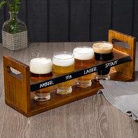 Acopa Tasting Flight Set - 4 Barbary Sampler Glasses with Bridge Taster Caddy