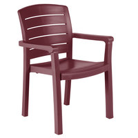 Grosfillex US119067 Acadia Bordeaux Classic Stacking Resin Armchair