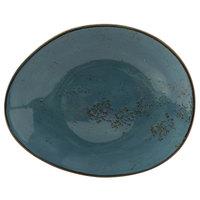 Tuxton GGE-652 TuxTrendz Artisan Geode Azure 12 inch x 9 3/4 inch China Ellipse Plate - 12/Case