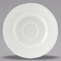 Tuxton SCE-054 TuxTrendz Charleston Porcelain White 5 1/2 inch Scalloped Edge China Demitasse Saucer - 36/Case