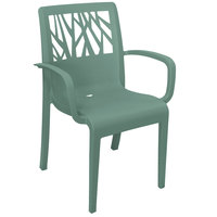 Grosfillex US200721 Vegetal Sage Stacking Arm Chair
