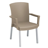 Grosfillex 45903181 Havana Taupe Classic Stacking Resin Arm Chair