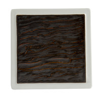Tuxton GKP-500 TuxTrendz Kona Lava / Bright White 6 inch China Square Plate - 12/Case