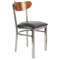 Lancaster Table & Seating Boomerang Clear Coat Chair with Black Vinyl Seat and Antique Walnut Back