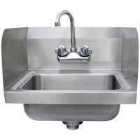 Advance Tabco 7-PS-EC-SP Economy Hand Sink with Splash Mount Faucet and Side Splash Guards - 17 1/4 inch x 15 1/4 inch