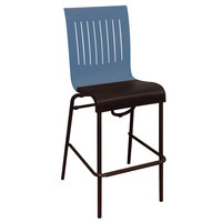 Grosfillex US929680 Viva Denim Blue / Charcoal Gray Stacking Resin Side Barstool