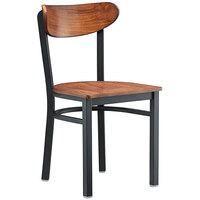 Lancaster Table & Seating Boomerang Black Chair with Antique Walnut Seat and Back
