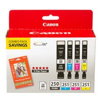 Canon 6497B004 Black / Cyan / Magenta / Yellow Inkjet Printer Ink Cartridges and Paper Combo Pack