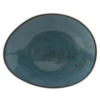 Tuxton GGE-651 TuxTrendz Artisan Geode Azure 10 inch x 8 1/4 inch China Ellipse Plate - 12/Case