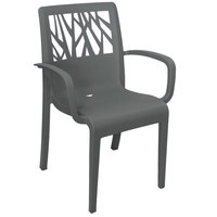 Grosfillex US201002 Vegetal Charcoal Gray Stacking Arm Chair
