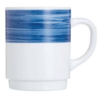 Arcoroc H3622 Opal Brush Blue Jean 8 oz. Stackable Mug by Arc Cardinal - 36/Case