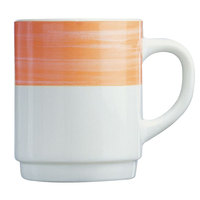 Arcoroc 54719 Opal Brush Orange 8 oz. Stackable Mug by Arc Cardinal - 36/Case