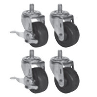 Beverage-Air 61C01-013A 3 inch Replacement Casters for H Series, P Series, DP 46, 67, and 93, and 32 inch Deep Undercounter / Worktop Units - 4/Set