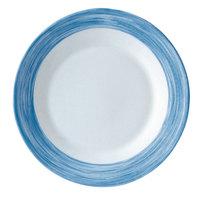 Arcoroc H4560 Opal Brush Blue Jean 9 inch Hospital Plate by Arc Cardinal - 24/Case