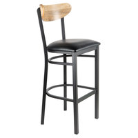 Lancaster Table & Seating Boomerang Bar Height Black Chair with Black Vinyl Seat and Driftwood Back