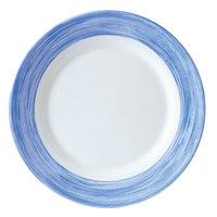 Arcoroc H3607 Opal Brush Blue Jean 9 1/4 inch Lunch Plate by Arc Cardinal - 24/Case