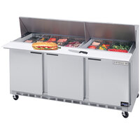 Beverage-Air SPE72-12M 72 inch Mega Top Three Door Refrigerated Salad / Sandwich Prep Table