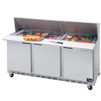 Beverage Air SPE72HC-12M 72 inch 3 Door Mega Top Refrigerated Sandwich Prep Table