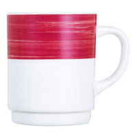 Arcoroc H2787 Opal Brush Cherry 8 oz. Stackable Mug by Arc Cardinal - 36/Case
