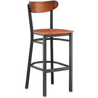 Lancaster Table & Seating Boomerang Bar Height Black Chair with Antique Walnut Seat and Back