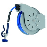 T&S B-7232-01-ESB36 Wall Mounted Hose Reel with 35' Hose, 4+ GPM Spray Valve, Swivel, Swing Bracket, and 36 inch Supply Hose