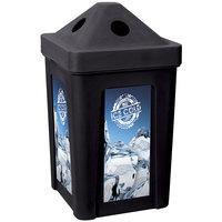 Black Stacking Pyramid Lid Recycle Bin - 48 Gallon