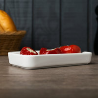 Arcoroc L9562 Mekkano 2 3/4 inch x 5 7/8 inch White Porcelain Rectangular Serving Plate by Arc Cardinal - 24/Case