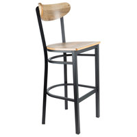 Lancaster Table & Seating Boomerang Bar Height Black Chair with Driftwood Seat and Back