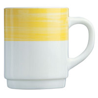 Arcoroc 54735 Opal Brush Yellow 8 oz. Stackable Mug by Arc Cardinal - 36/Case
