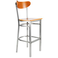 Lancaster Table & Seating Boomerang Bar Height Clear Coat Chair with Cherry Seat and Back