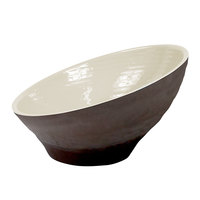Elite Global Solutions D75RR-AW/CH Durango 18 oz. Antique White and Chocolate Angled Two-Toned Melamine Bowl - 6/Case