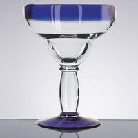 Libbey 92315 Aruba 16 oz. Margarita Glass with Cobalt Blue Rim and Base   - 12/Case