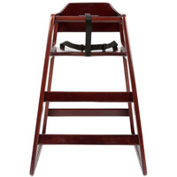 Lancaster Table &amp&#x3b; Seating Stacking Restaurant Wood High Chair with Dark Finish - Assembled