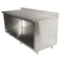 Advance Tabco EK-SS-2412 24 inch x 144 inch 14 Gauge Open Front Cabinet Base Work Table with 5 inch Backsplash