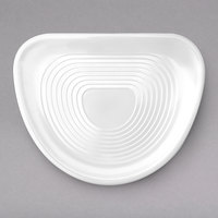 Elite Global Solutions M1375-NW Pura Vita 13 3/4 inch x 10 3/4 inch White Ribbed Triangular Melamine Platter